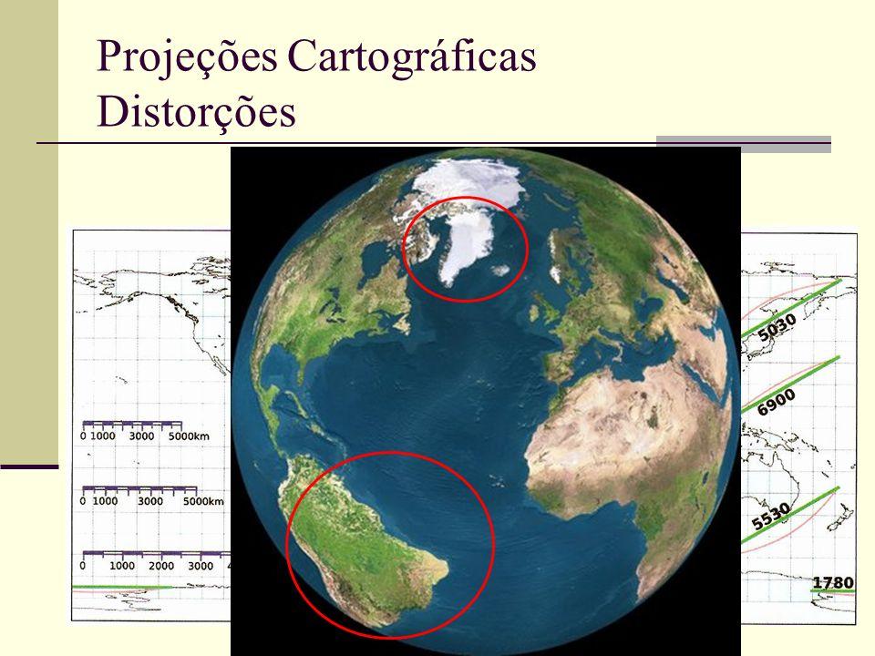 Projeções Cartográficas Distorções Projeção Eqüidistante Cilíndrica