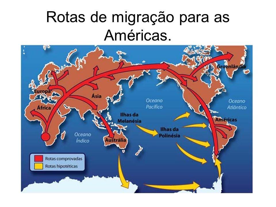 Rotas de migração para as Américas.