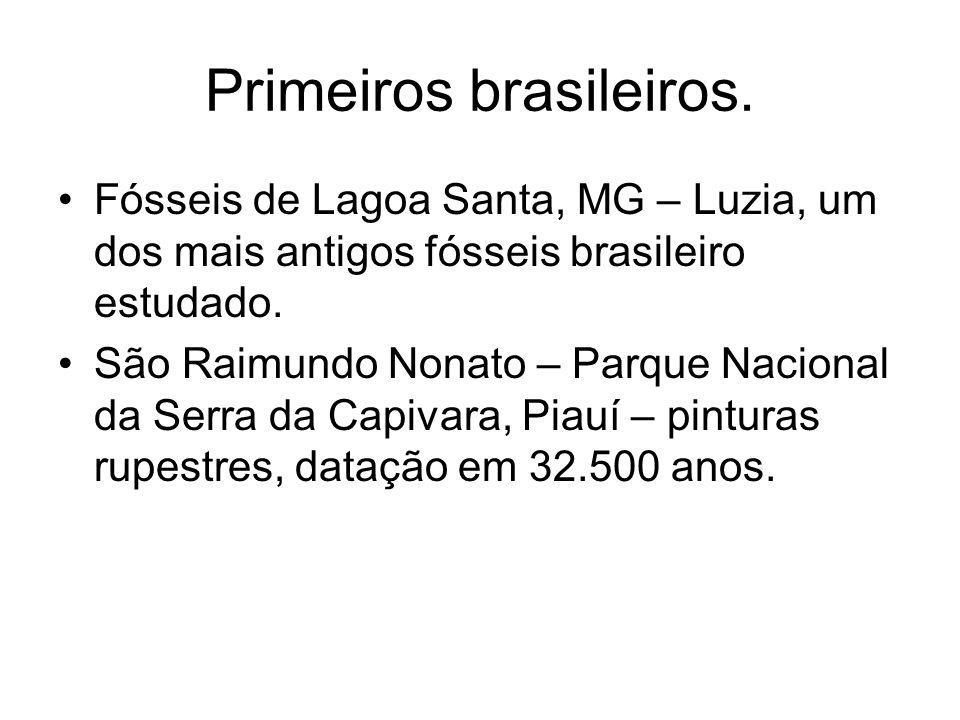 Primeiros brasileiros. Fósseis de Lagoa Santa, MG – Luzia, um dos mais antigos fósseis brasileiro estudado. São Raimundo Nonato – Parque Nacional da S