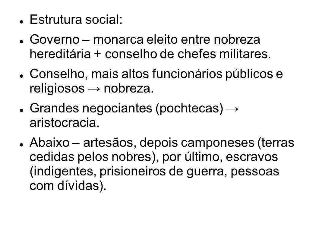 Estrutura social: Governo – monarca eleito entre nobreza hereditária + conselho de chefes militares. Conselho, mais altos funcionários públicos e reli