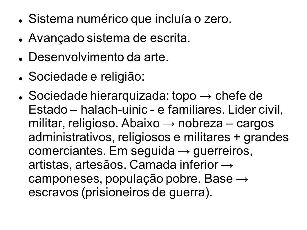 Sistema numérico que incluía o zero. Avançado sistema de escrita. Desenvolvimento da arte. Sociedade e religião: Sociedade hierarquizada: topo chefe d