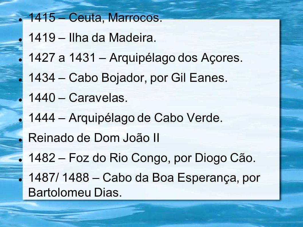 1415 – Ceuta, Marrocos. 1419 – Ilha da Madeira. 1427 a 1431 – Arquipélago dos Açores. 1434 – Cabo Bojador, por Gil Eanes. 1440 – Caravelas. 1444 – Arq