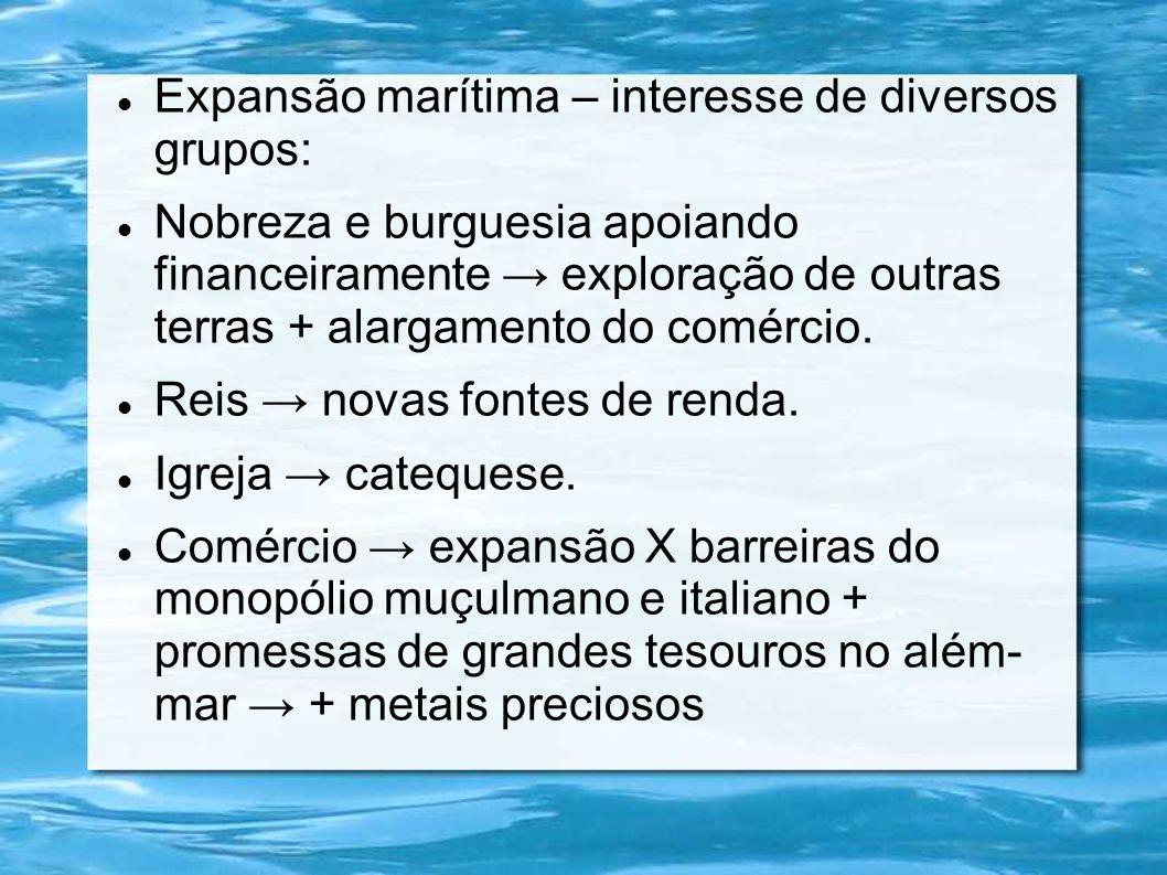 Expansão marítima – interesse de diversos grupos: Nobreza e burguesia apoiando financeiramente exploração de outras terras + alargamento do comércio.