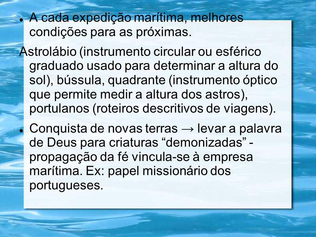A cada expedição marítima, melhores condições para as próximas. Astrolábio (instrumento circular ou esférico graduado usado para determinar a altura d