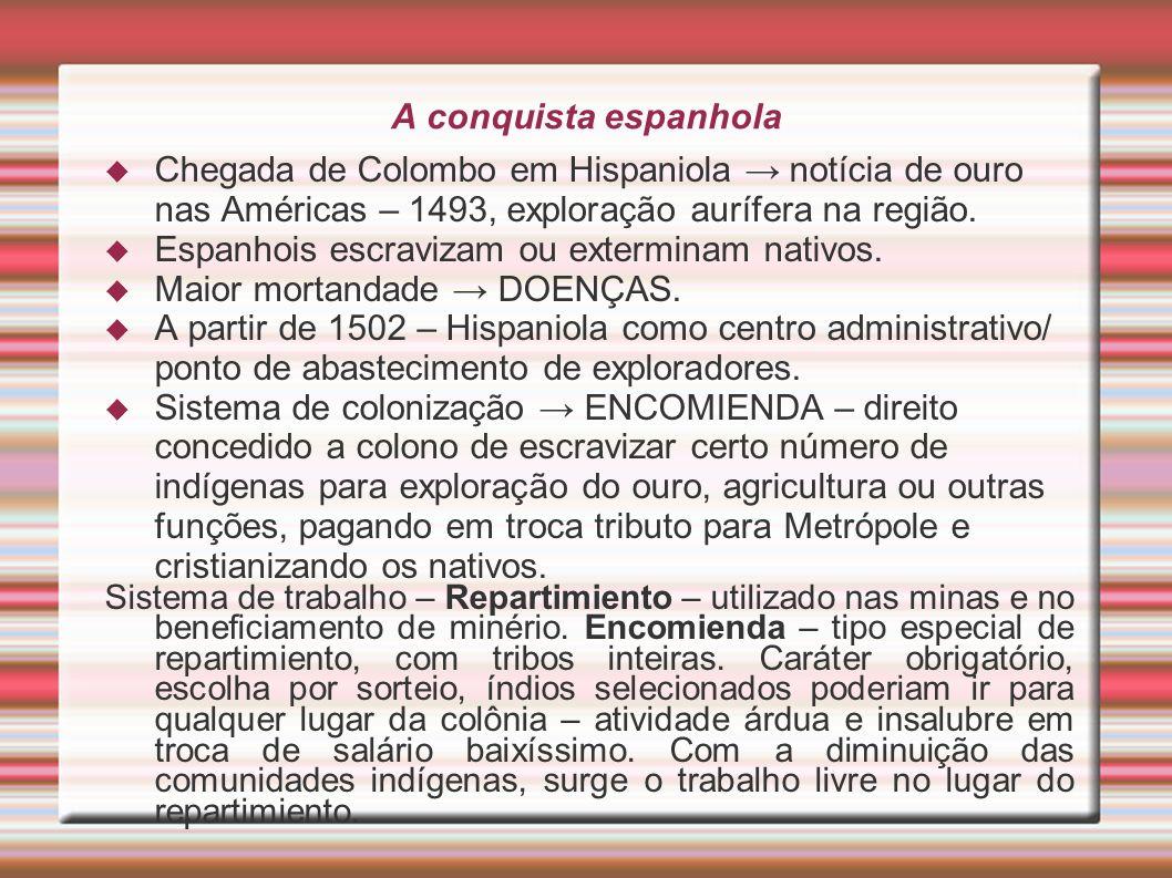 A conquista espanhola Chegada de Colombo em Hispaniola notícia de ouro nas Américas – 1493, exploração aurífera na região. Espanhois escravizam ou ext
