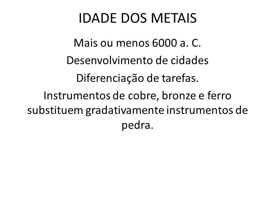 IDADE DOS METAIS Mais ou menos 6000 a. C. Desenvolvimento de cidades Diferenciação de tarefas. Instrumentos de cobre, bronze e ferro substituem gradat