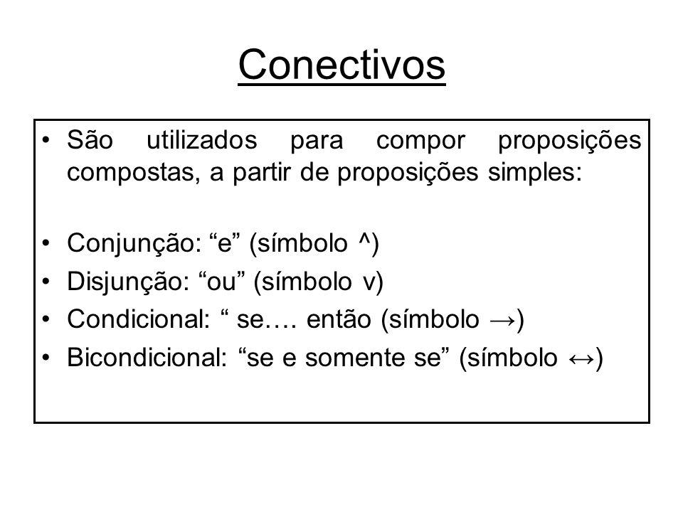 Conectivos São utilizados para compor proposições compostas, a partir de proposições simples: Conjunção: e (símbolo ^) Disjunção: ou (símbolo v) Condi