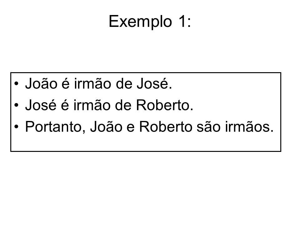 Exemplo 1: João é irmão de José. José é irmão de Roberto. Portanto, João e Roberto são irmãos.