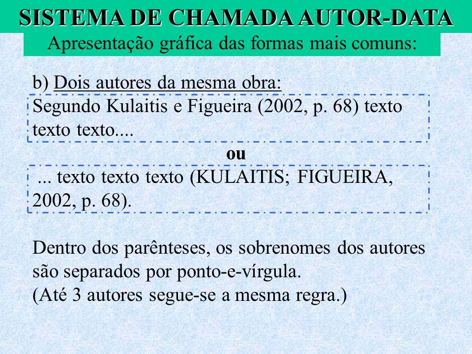b) Dois autores da mesma obra: Segundo Kulaitis e Figueira (2002, p. 68) texto texto texto.... ou... texto texto texto (KULAITIS; FIGUEIRA, 2002, p. 6