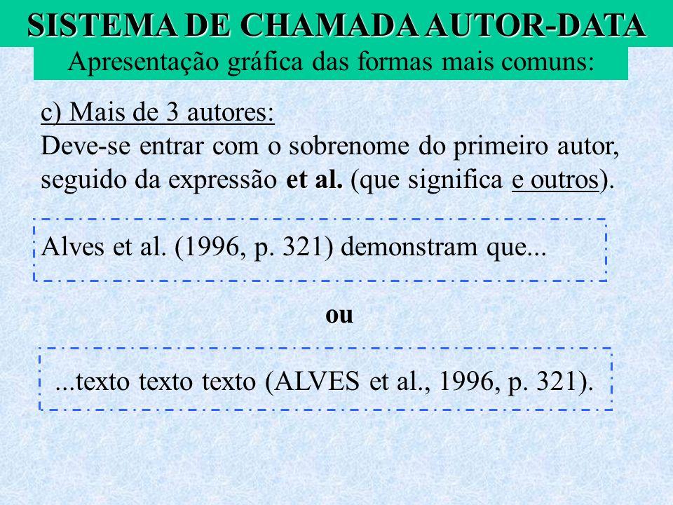 SISTEMA DE CHAMADA AUTOR-DATA c) Mais de 3 autores: et al. Deve-se entrar com o sobrenome do primeiro autor, seguido da expressão et al. (que signific