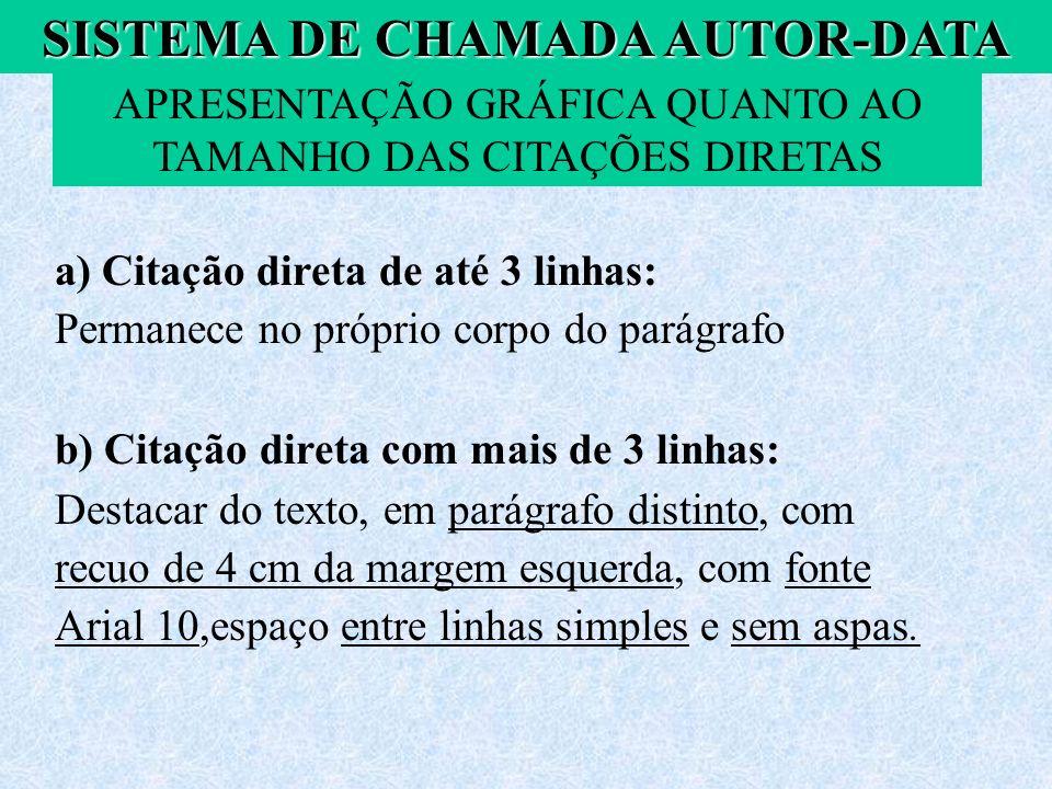 SISTEMA DE CHAMADA AUTOR-DATA APRESENTAÇÃO GRÁFICA QUANTO AO TAMANHO DAS CITAÇÕES DIRETAS a) Citação direta de até 3 linhas: Permanece no próprio corp