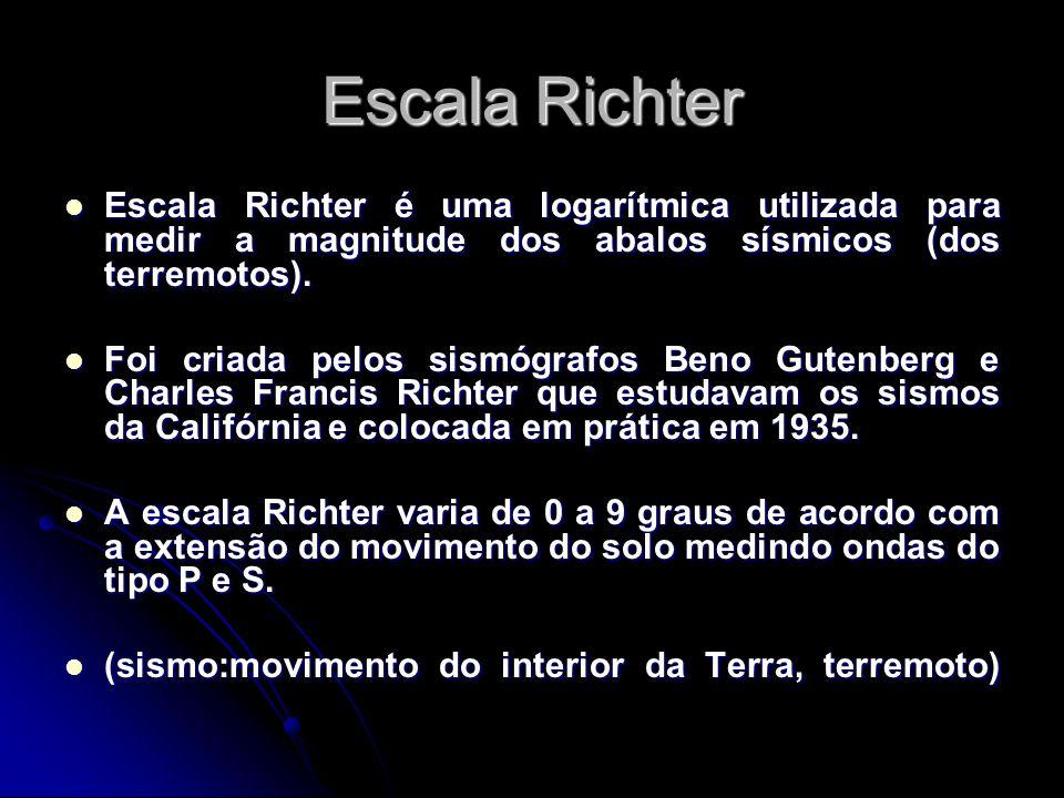 Escala Richter Escala Richter é uma logarítmica utilizada para medir a magnitude dos abalos sísmicos (dos terremotos). Escala Richter é uma logarítmic