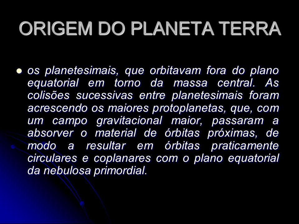 ORIGEM DO PLANETA TERRA os planetesimais, que orbitavam fora do plano equatorial em torno da massa central. As colisões sucessivas entre planetesimais