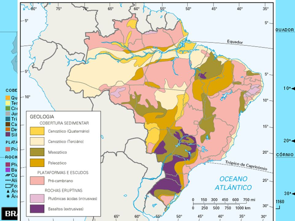 Formações antigas, geologicamente consolidadas e estáveis; Formações antigas, geologicamente consolidadas e estáveis; Ausência de atividade vulcânica;