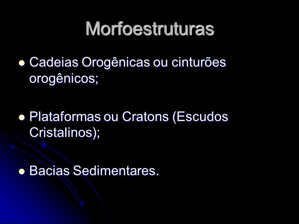 Morfoestruturas Cadeias Orogênicas ou cinturões orogênicos; Cadeias Orogênicas ou cinturões orogênicos; Plataformas ou Cratons (Escudos Cristalinos);