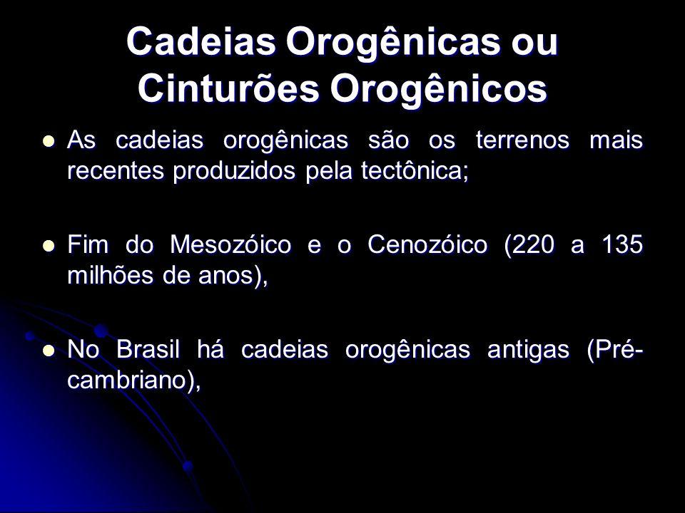 Cadeias Orogênicas ou Cinturões Orogênicos As cadeias orogênicas são os terrenos mais recentes produzidos pela tectônica; As cadeias orogênicas são os