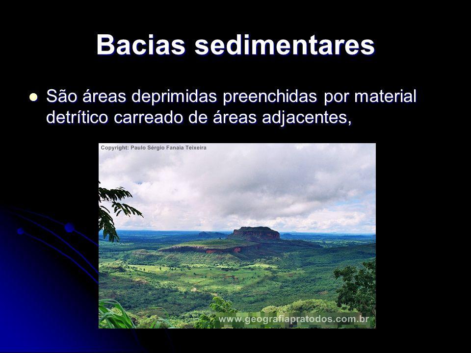Bacias sedimentares São áreas deprimidas preenchidas por material detrítico carreado de áreas adjacentes, São áreas deprimidas preenchidas por materia