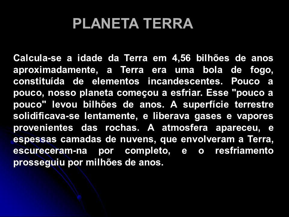 Calcula-se a idade da Terra em 4,56 bilhões de anos aproximadamente, a Terra era uma bola de fogo, constituída de elementos incandescentes. Pouco a po