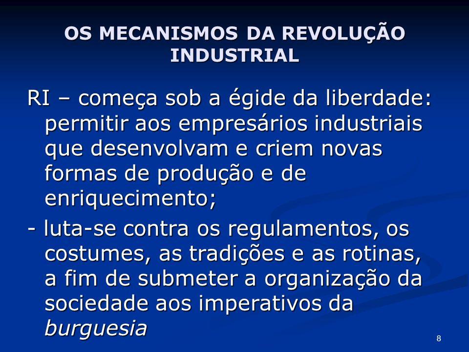 OS MECANISMOS DA REVOLUÇÃO INDUSTRIAL CAPITALISMO LIBERAL: - Defende a liberdade - estabelece o reino do capital, - dos seus possuidores, - dos imperativos de acumulação deste capital, - do predomínio dos empresários industriais x operários 9