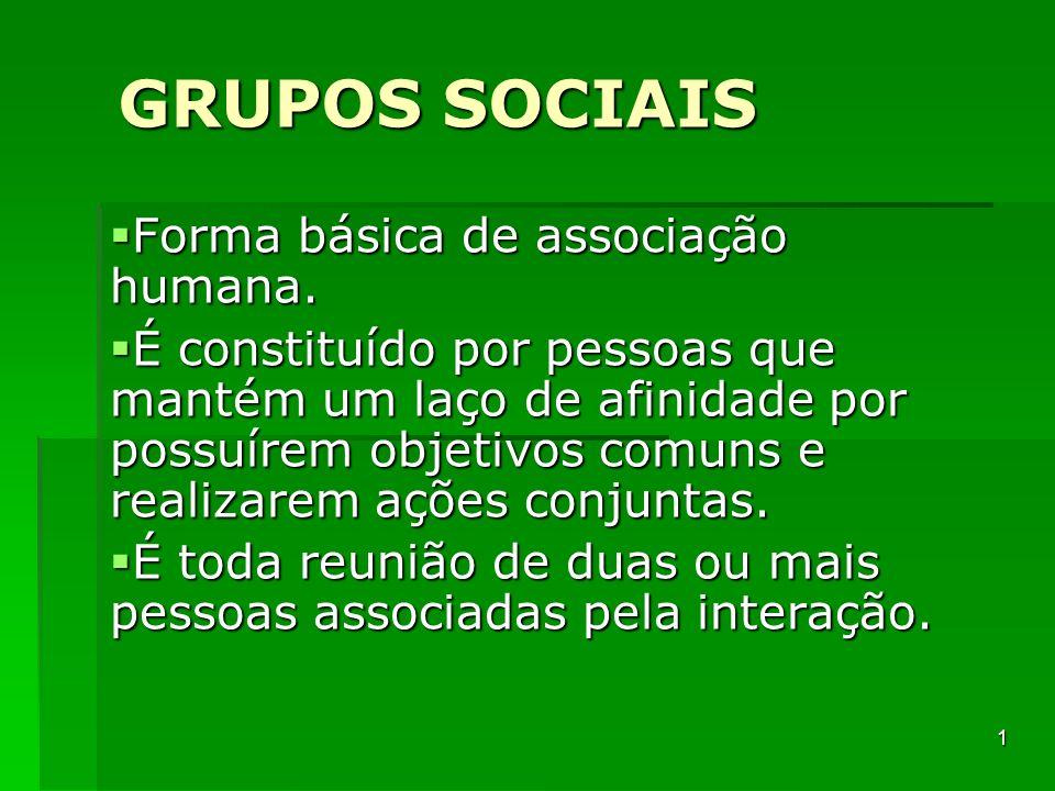 GRUPOS SOCIAIS Forma básica de associação humana. Forma básica de associação humana. É constituído por pessoas que mantém um laço de afinidade por pos