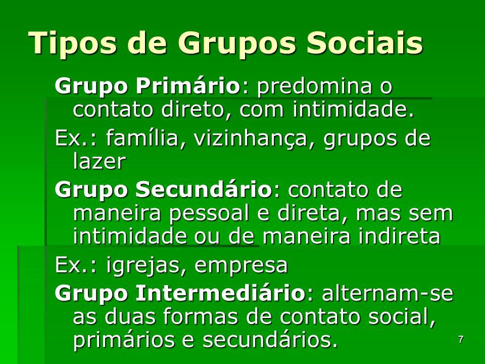 Tipos de Grupos Sociais Grupo Primário: predomina o contato direto, com intimidade. Ex.: família, vizinhança, grupos de lazer Grupo Secundário: contat