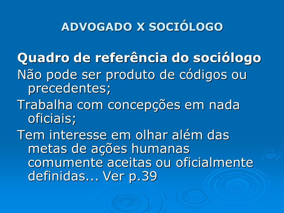 ADVOGADO X SOCIÓLOGO Quadro de referência do sociólogo Não pode ser produto de códigos ou precedentes; Trabalha com concepções em nada oficiais; Tem i