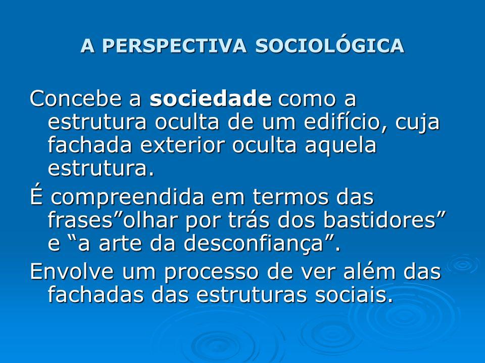 A PERSPECTIVA SOCIOLÓGICA Concebe a sociedade como a estrutura oculta de um edifício, cuja fachada exterior oculta aquela estrutura. É compreendida em