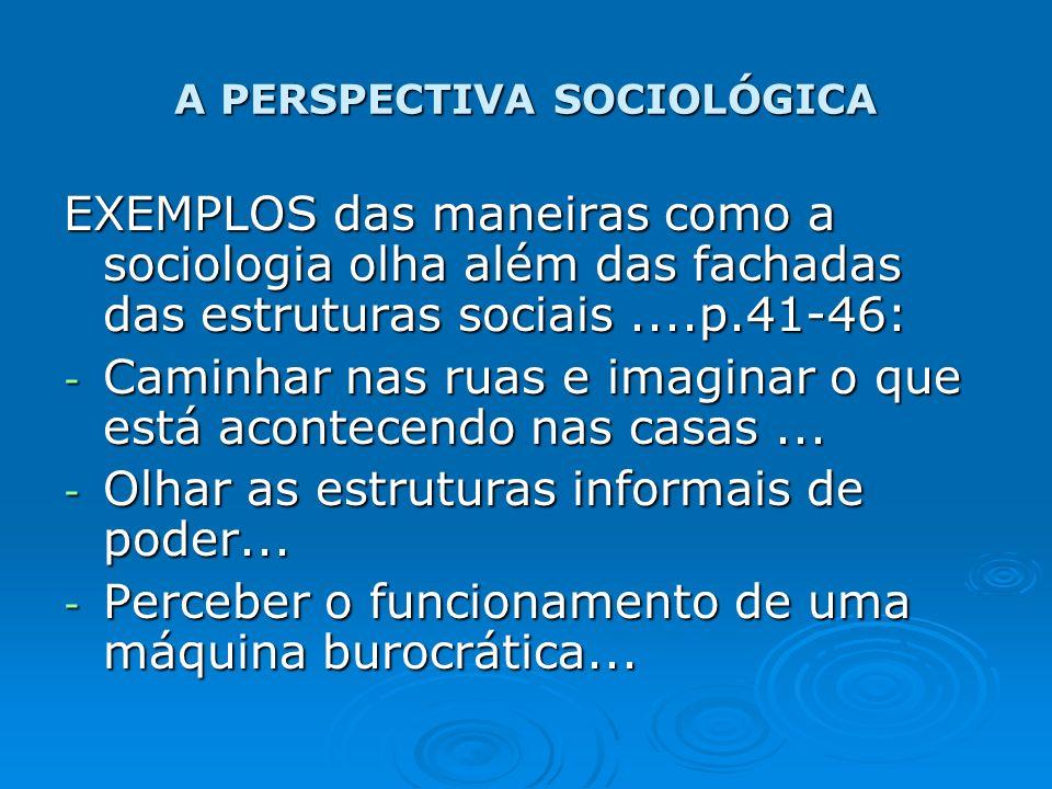 A PERSPECTIVA SOCIOLÓGICA EXEMPLOS das maneiras como a sociologia olha além das fachadas das estruturas sociais....p.41-46: - Caminhar nas ruas e imag