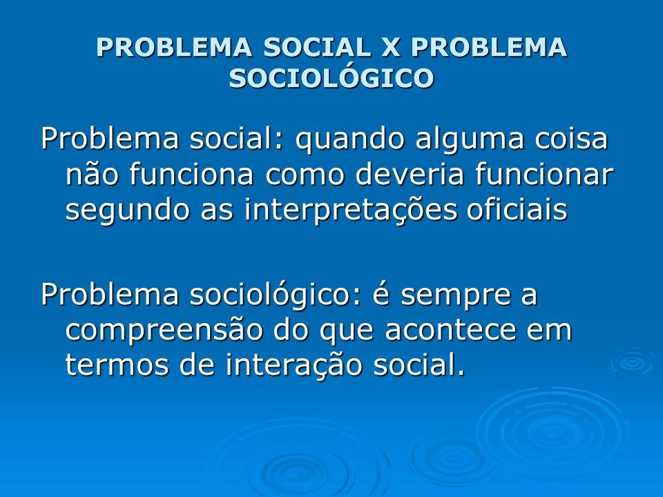 PROBLEMA SOCIAL X PROBLEMA SOCIOLÓGICO Problema social: quando alguma coisa não funciona como deveria funcionar segundo as interpretações oficiais Pro