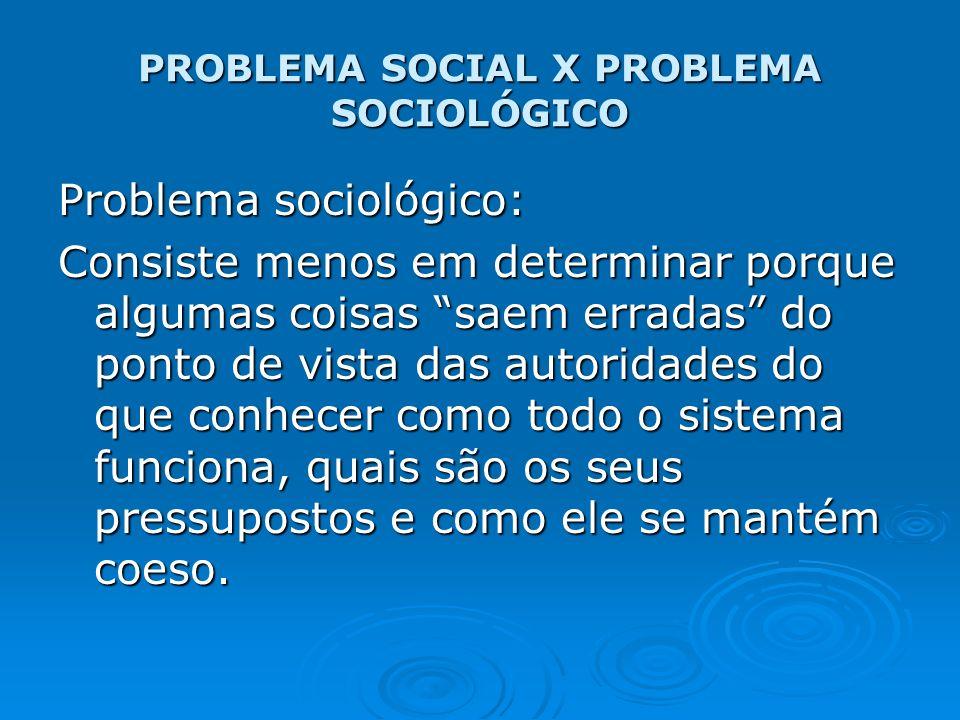 PROBLEMA SOCIAL X PROBLEMA SOCIOLÓGICO Problema sociológico: Consiste menos em determinar porque algumas coisas saem erradas do ponto de vista das aut