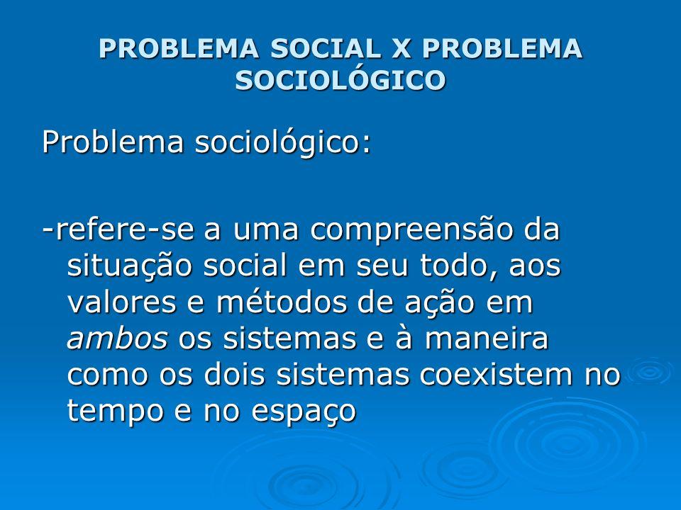 PROBLEMA SOCIAL X PROBLEMA SOCIOLÓGICO Problema sociológico: -refere-se a uma compreensão da situação social em seu todo, aos valores e métodos de açã