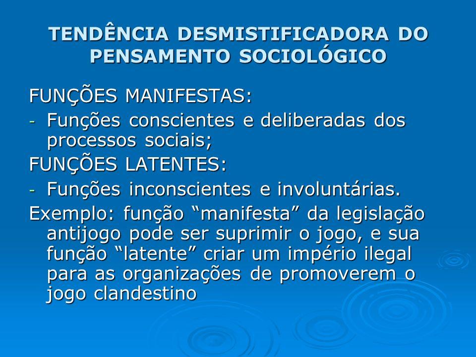 TENDÊNCIA DESMISTIFICADORA DO PENSAMENTO SOCIOLÓGICO FUNÇÕES MANIFESTAS: - Funções conscientes e deliberadas dos processos sociais; FUNÇÕES LATENTES: