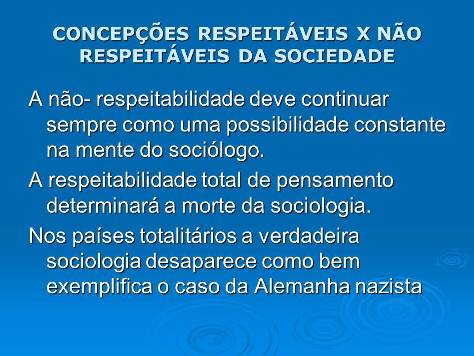 CONCEPÇÕES RESPEITÁVEIS X NÃO RESPEITÁVEIS DA SOCIEDADE A não- respeitabilidade deve continuar sempre como uma possibilidade constante na mente do soc
