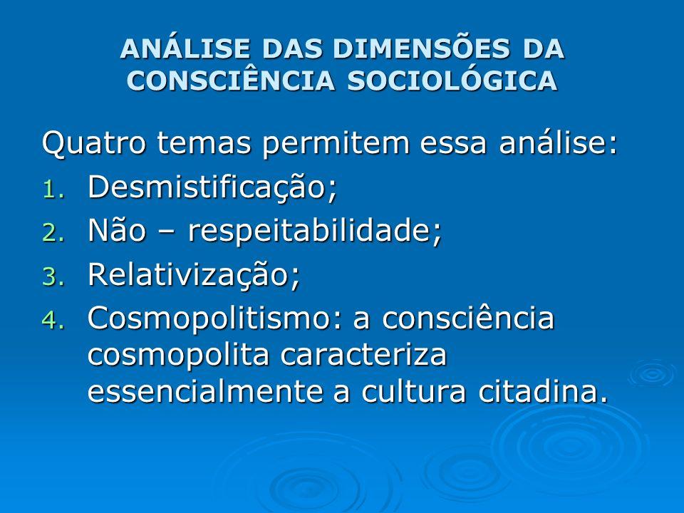 ANÁLISE DAS DIMENSÕES DA CONSCIÊNCIA SOCIOLÓGICA Quatro temas permitem essa análise: 1. Desmistificação; 2. Não – respeitabilidade; 3. Relativização;