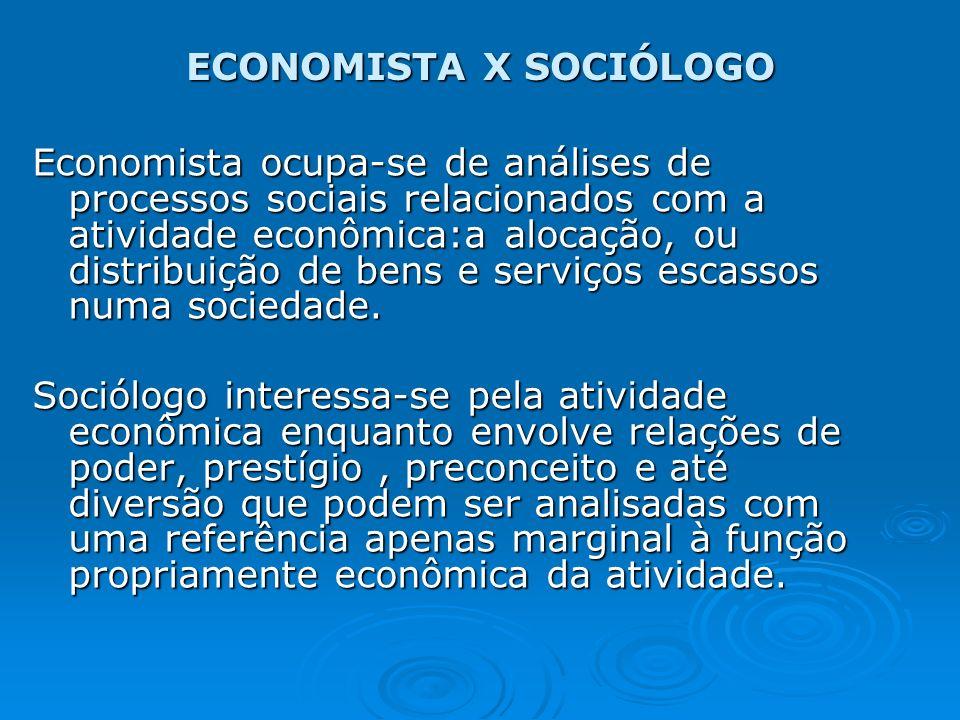 ECONOMISTA X SOCIÓLOGO Economista ocupa-se de análises de processos sociais relacionados com a atividade econômica:a alocação, ou distribuição de bens