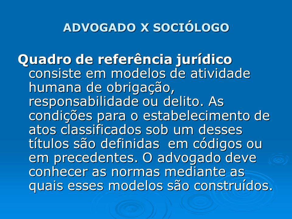 ADVOGADO X SOCIÓLOGO Quadro de referência jurídico consiste em modelos de atividade humana de obrigação, responsabilidade ou delito. As condições para
