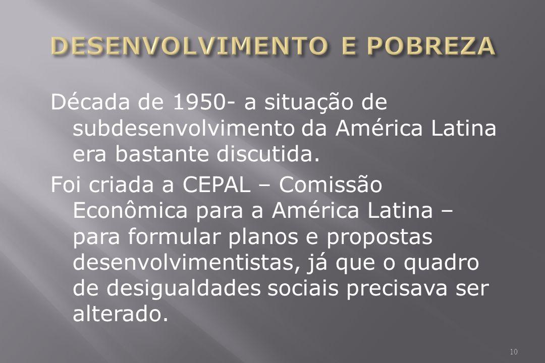 Década de 1950- a situação de subdesenvolvimento da América Latina era bastante discutida.