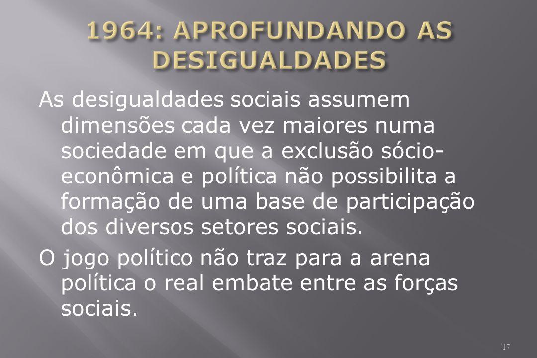 As desigualdades sociais assumem dimensões cada vez maiores numa sociedade em que a exclusão sócio- econômica e política não possibilita a formação de uma base de participação dos diversos setores sociais.