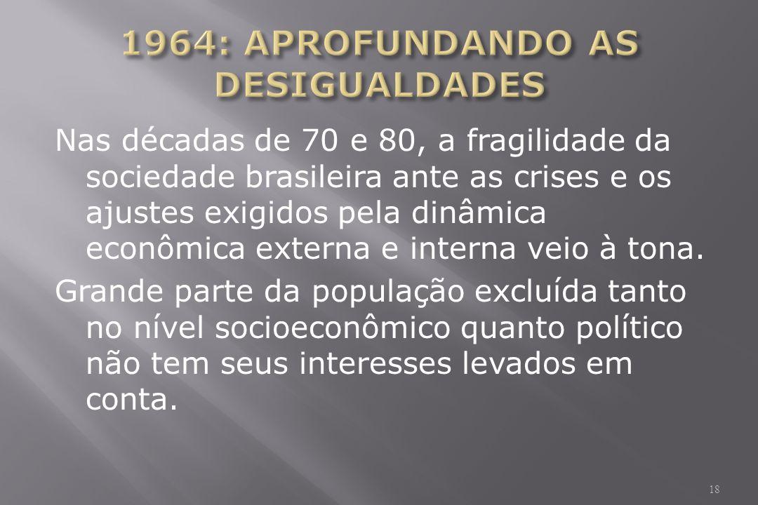 Nas décadas de 70 e 80, a fragilidade da sociedade brasileira ante as crises e os ajustes exigidos pela dinâmica econômica externa e interna veio à tona.