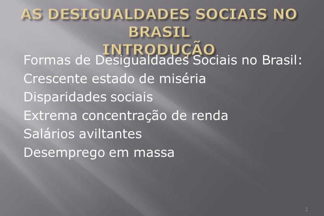 Formas de Desigualdades Sociais no Brasil: Crescente estado de miséria Disparidades sociais Extrema concentração de renda Salários aviltantes Desemprego em massa 2