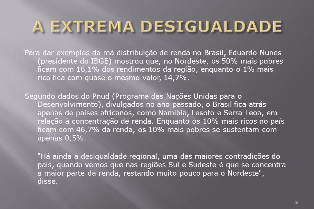 Para dar exemplos da má distribuição de renda no Brasil, Eduardo Nunes (presidente do IBGE) mostrou que, no Nordeste, os 50% mais pobres ficam com 16,1% dos rendimentos da região, enquanto o 1% mais rico fica com quase o mesmo valor, 14,7%.