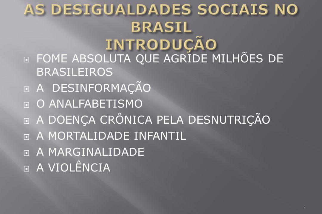 FOME ABSOLUTA QUE AGRIDE MILHÕES DE BRASILEIROS A DESINFORMAÇÃO O ANALFABETISMO A DOENÇA CRÔNICA PELA DESNUTRIÇÃO A MORTALIDADE INFANTIL A MARGINALIDADE A VIOLÊNCIA 3
