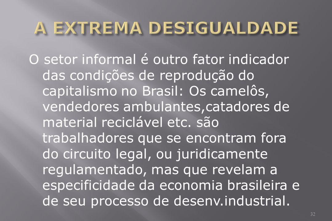 O setor informal é outro fator indicador das condições de reprodução do capitalismo no Brasil: Os camelôs, vendedores ambulantes,catadores de material reciclável etc.