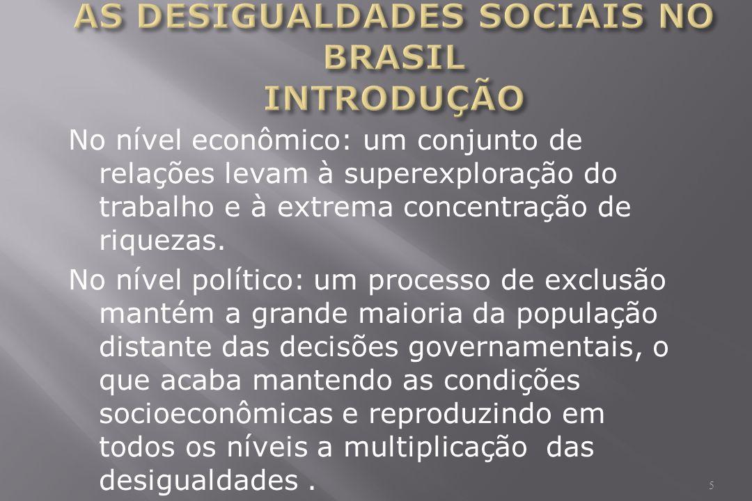 No nível econômico: um conjunto de relações levam à superexploração do trabalho e à extrema concentração de riquezas.
