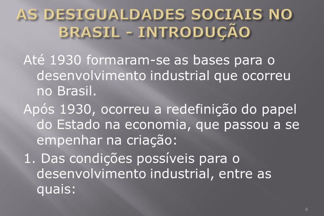 Até 1930 formaram-se as bases para o desenvolvimento industrial que ocorreu no Brasil.