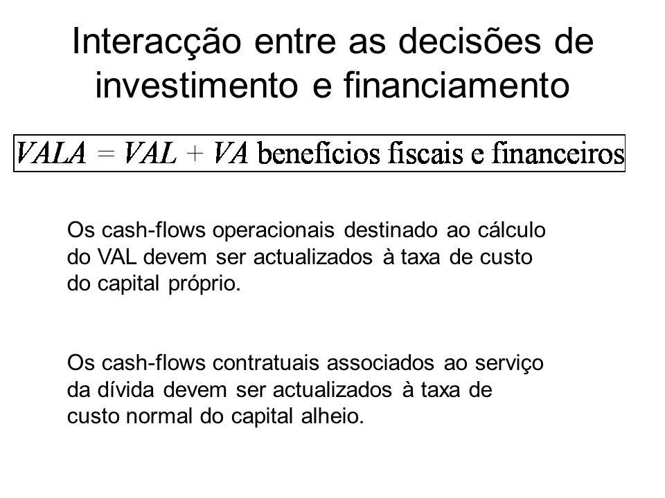 Interacção entre as decisões de investimento e financiamento Os cash-flows operacionais destinado ao cálculo do VAL devem ser actualizados à taxa de c