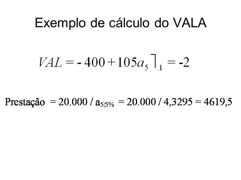Exemplo de cálculo do VALA