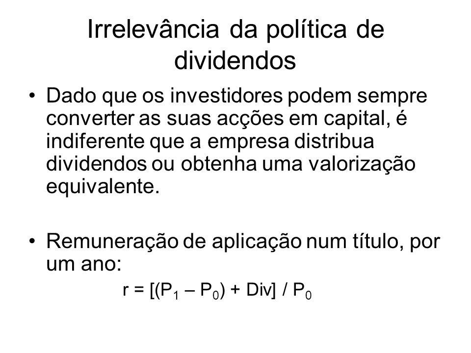 Irrelevância da política de dividendos Dado que os investidores podem sempre converter as suas acções em capital, é indiferente que a empresa distribu