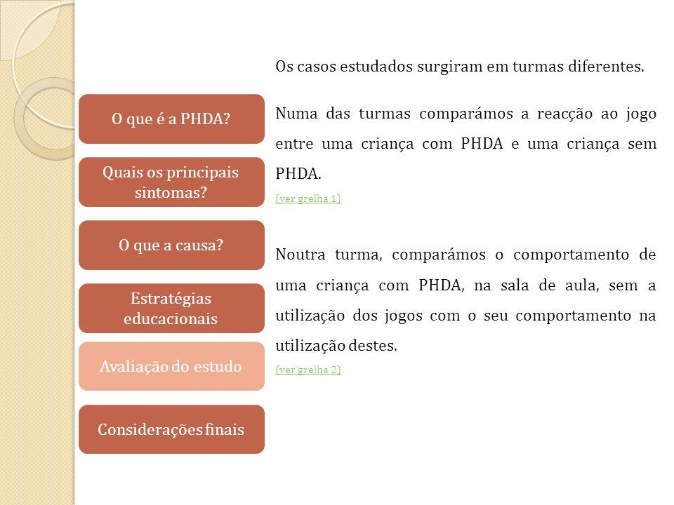 Os casos estudados surgiram em turmas diferentes. Numa das turmas comparámos a reacção ao jogo entre uma criança com PHDA e uma criança sem PHDA. (ver