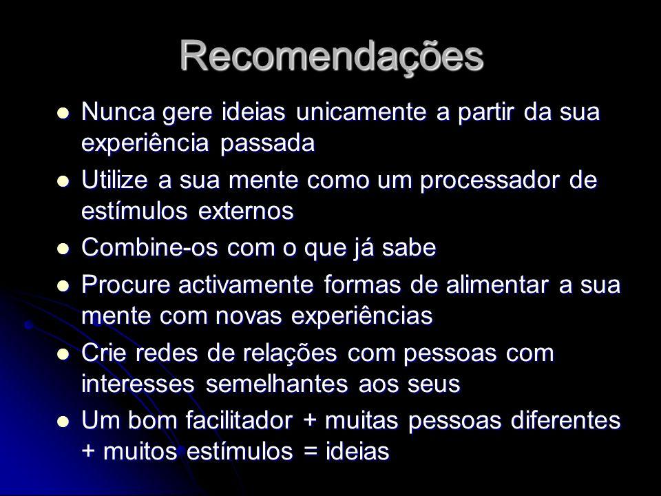 Recomendações Nunca gere ideias unicamente a partir da sua experiência passada Nunca gere ideias unicamente a partir da sua experiência passada Utiliz